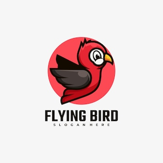 Logo illustrazione uccello volante semplice stile mascotte.