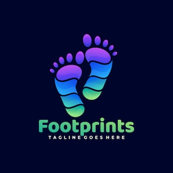 Logo illustrazione piede stampe gradiente colorato stile.