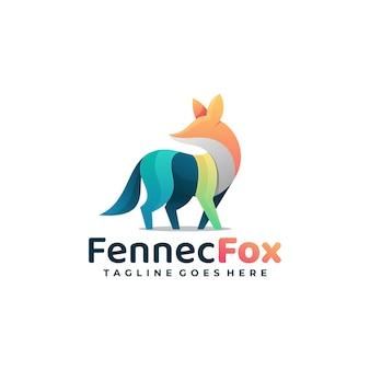 Logo illustrazione fox gradiente colorato stile.