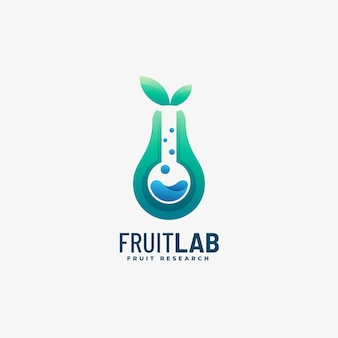 Logo illustrazione fruit lab gradient colorful style.
