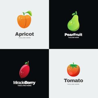 Logo illustrazione frutti gradiente stile colorato.