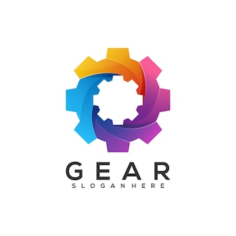 Logo illustrazione ingranaggio gradiente colorato
