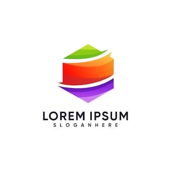 Stile colorato sfumato di illustrazione logo