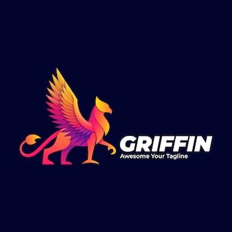 Logo illustration griffin mythology pose gradient colorful