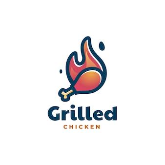 Logo illustrazione pollo alla griglia stile semplice mascotte