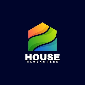 Logo illustrazione house gradient colorful style.