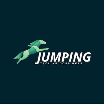 Logo illustrazione saltando gradiente stile colorato.