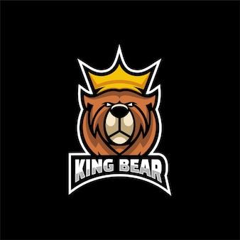 Illustrazione del logo king bear e-sport e sport style.