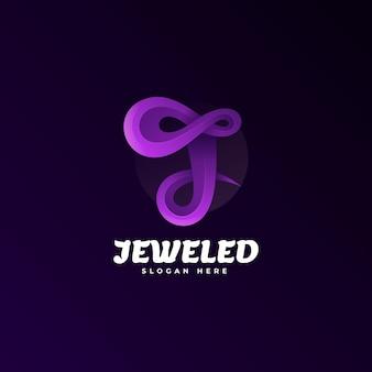 Logo illustrazione lettera j gradiente stile colorato