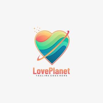 Logo illustrazione amore pianeta gradiente colorato stile.