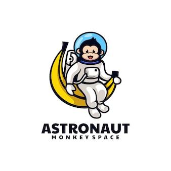 Logo illustrazione scimmia astronauta mascotte stile cartone animato