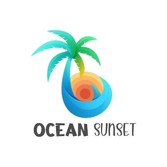 Colore gradiente del tramonto dell'oceano dell'illustrazione di logo