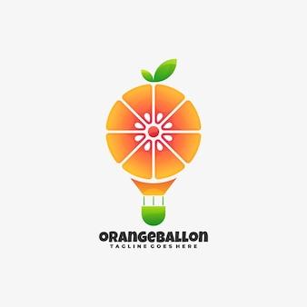 Illustrazione di marchio arancione palloncino gradiente stile colorato.