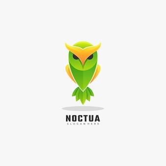 Logo illustrazione gufo gradiente colorato stile