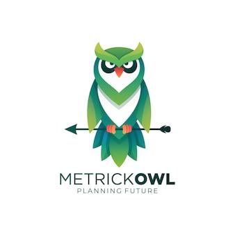 Logo illustrazione gufo gradiente colorato stile Vettore Premium