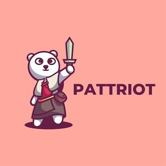 Logo illustrazione patriota mascotte stile cartone animato.