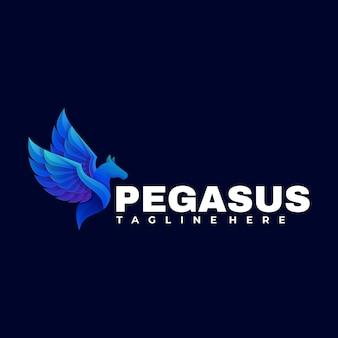 Logo illustrazione pegasus gradient colorful style.