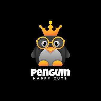 Logo illustrazione pinguino gradiente stile colorato.