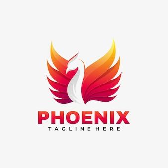 Logo illustrazione phoenix gradient colorful style.