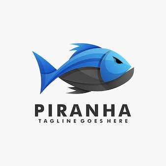 Logo illustration piranha gradient colorful style.
