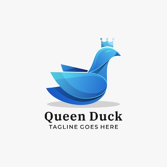 Logo illustrazione queen duck gradient colorful style.