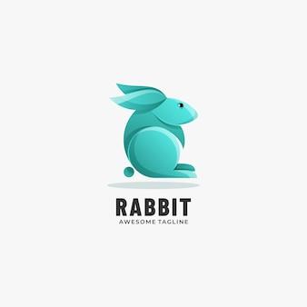 Logo illustrazione coniglio gradiente stile colorato.