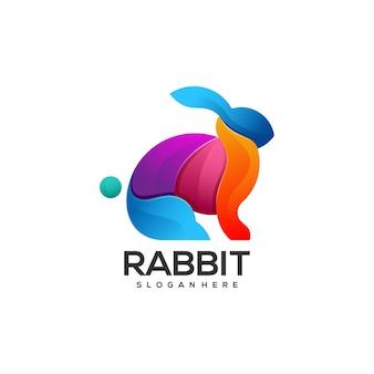 Stile colorato gradiente di coniglio illustrazione logo