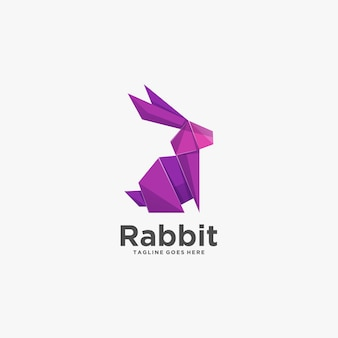 Logo illustration rabbit poly stile colorato.