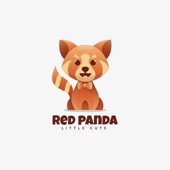 Logo illustrazione panda rosso gradiente stile colorato.