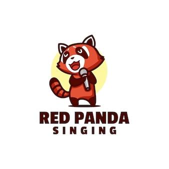 Illustrazione del logo panda rosso mascotte stile cartone animato.