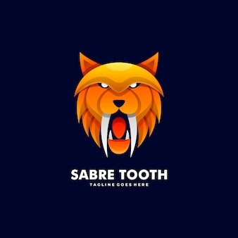 Logo illustration sabre tooth gradient colorful style.