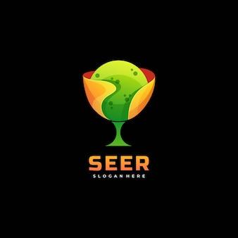 Logo illustrazione veggente gradiente colorato stile.