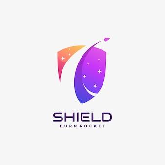 Logo illustrazione scudo gradiente colorato stile.