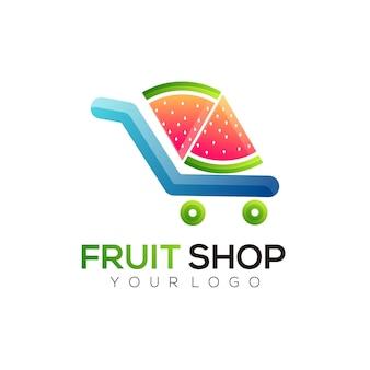 Logo illustrazione negozio frutta stile colorato sfumato