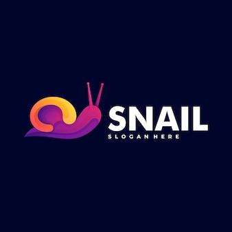 Logo illustrazione lumaca gradiente colorato stile.