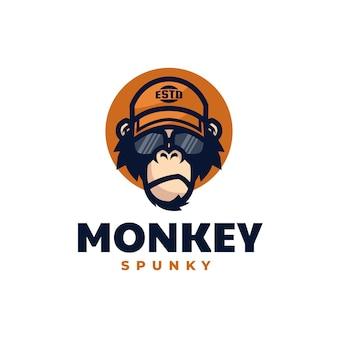 Logo illustrazione spunky scimmia mascotte stile cartoon