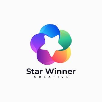 Logo illustrazione stella vincitore gradiente stile colorato