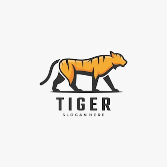 Logo illustration tiger simple mascot style.
