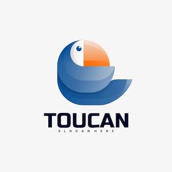 Logo illustrazione toucan gradient colorful style.