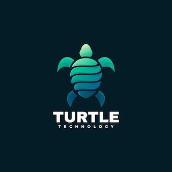 Logo illustrazione turtle gradient colorful style.