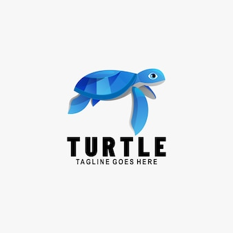 Logo illustrazione turtle gradient colorful style.