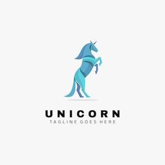 Logo illustrazione unicorno gradiente colorato stile.