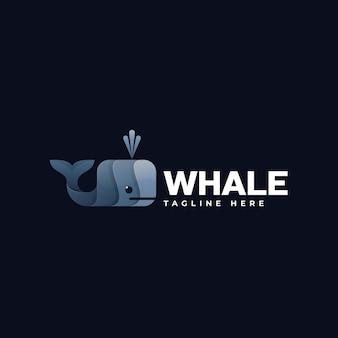 Logo illustrazione balena gradiente stile colorato
