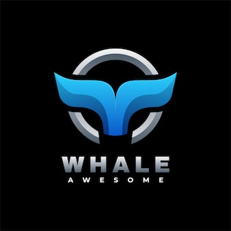 Logo illustration whale gradient colorful style.