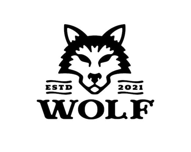 Illustrazione del logo della testa di lupo in design vintage