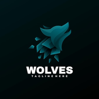 Logo illustrazione lupi gradiente colorato stile.