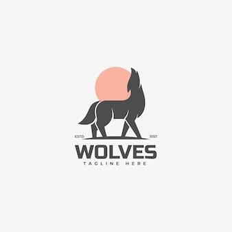 Logo illustrazione lupi silhouette style.
