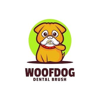 Logo illustrazione woof cane mascotte stile cartone animato.