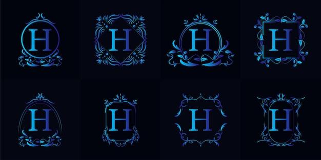 Logo h iniziale con ornamento di lusso o cornice floreale, set da collezione