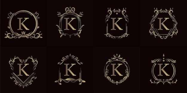 Logo k iniziale con ornamento di lusso o cornice floreale, insieme di set.